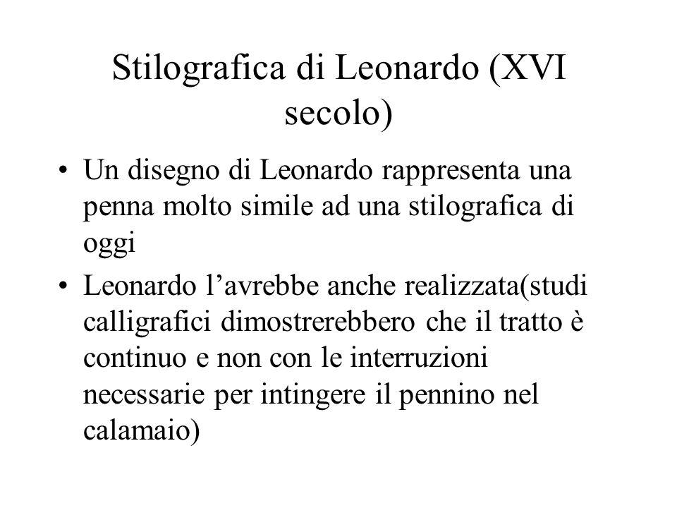 Stilografica di Leonardo (XVI secolo) Un disegno di Leonardo rappresenta una penna molto simile ad una stilografica di oggi Leonardo lavrebbe anche re