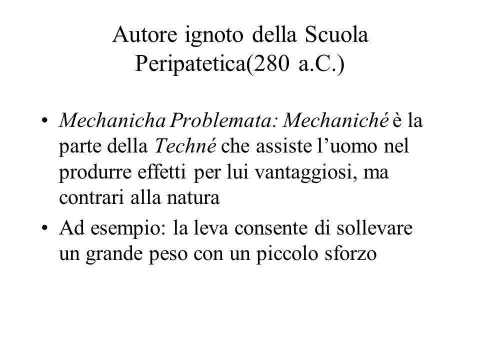 Autore ignoto della Scuola Peripatetica(280 a.C.) Mechanicha Problemata: Mechaniché è la parte della Techné che assiste luomo nel produrre effetti per