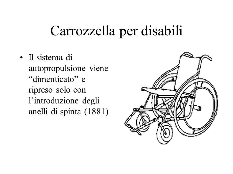 Carrozzella per disabili Il sistema di autopropulsione viene dimenticato e ripreso solo con lintroduzione degli anelli di spinta (1881)