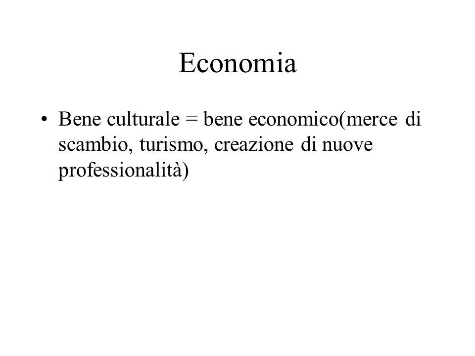 Economia Bene culturale = bene economico(merce di scambio, turismo, creazione di nuove professionalità)