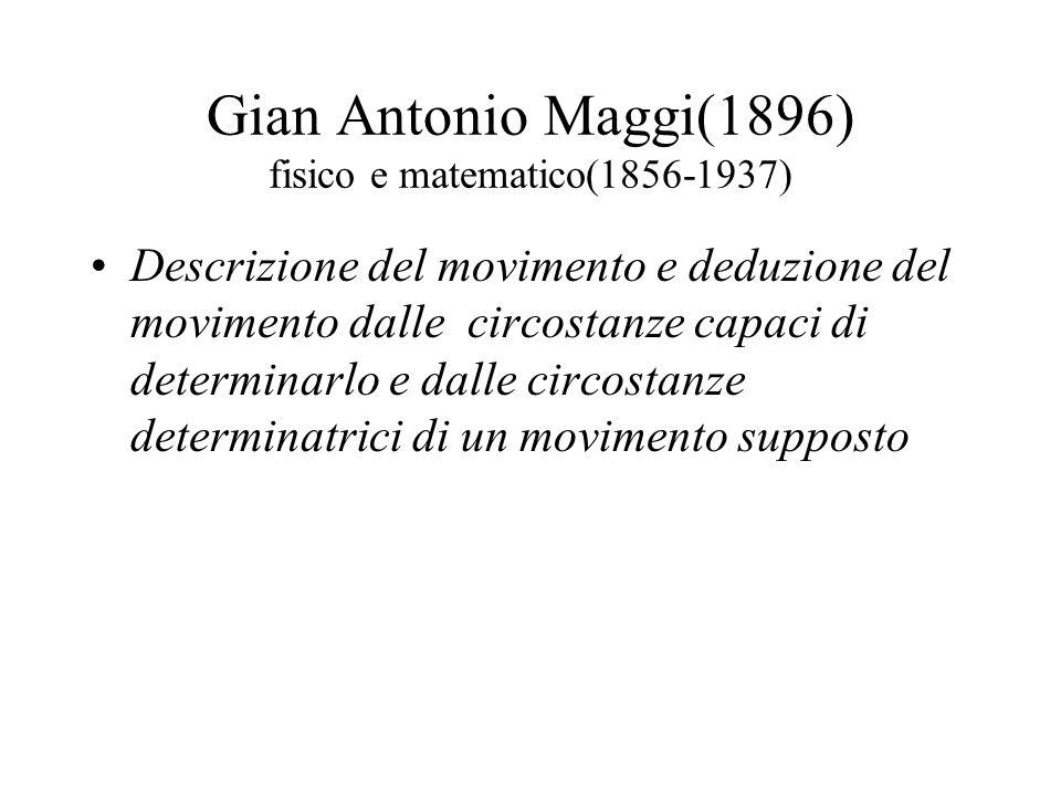 Gian Antonio Maggi(1896) fisico e matematico(1856-1937) Descrizione del movimento e deduzione del movimento dalle circostanze capaci di determinarlo e