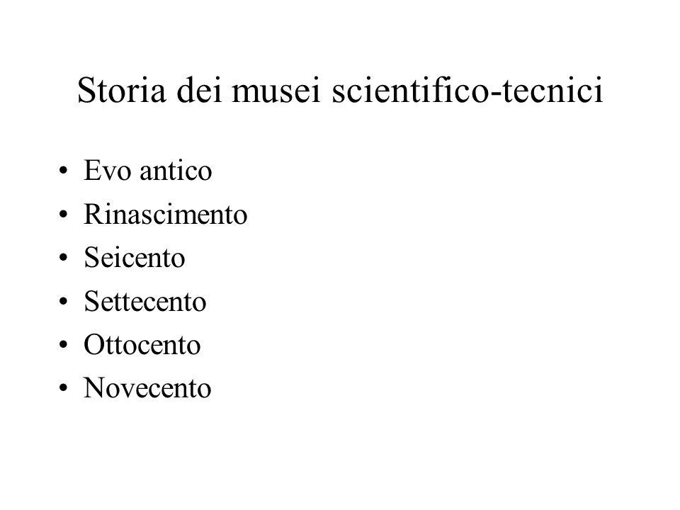 Storia dei musei scientifico-tecnici Evo antico Rinascimento Seicento Settecento Ottocento Novecento