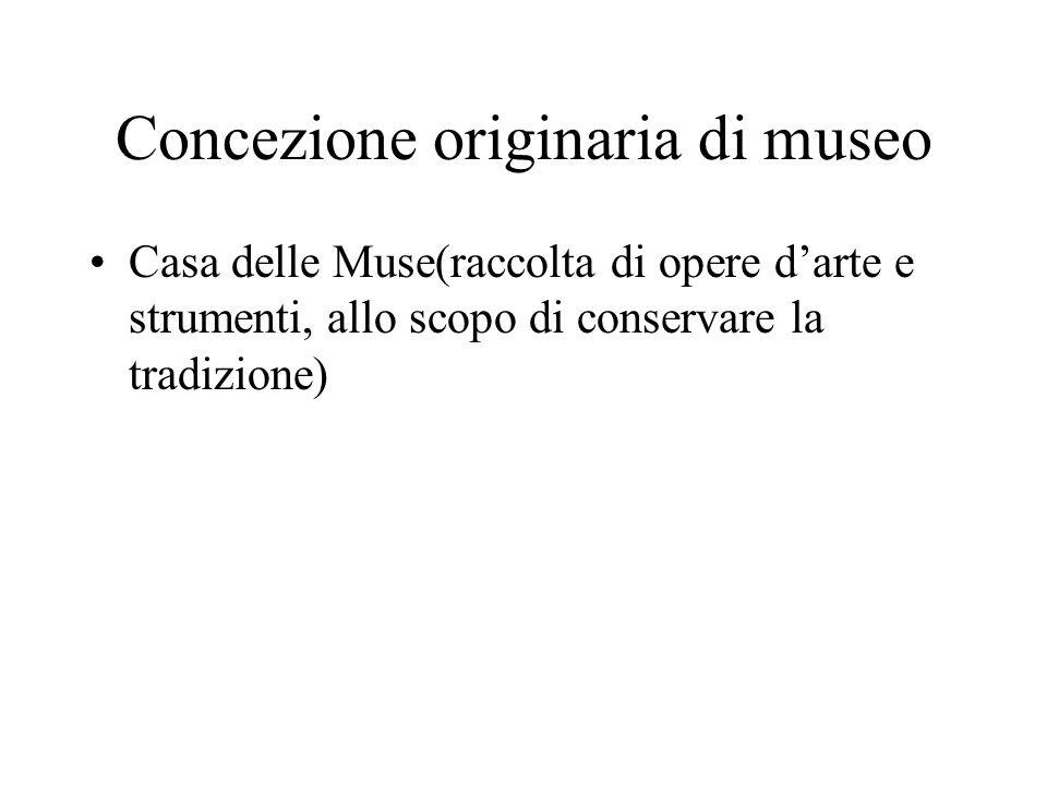 Concezione originaria di museo Casa delle Muse(raccolta di opere darte e strumenti, allo scopo di conservare la tradizione)