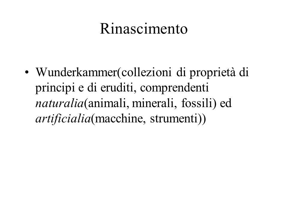 Rinascimento Wunderkammer(collezioni di proprietà di principi e di eruditi, comprendenti naturalia(animali, minerali, fossili) ed artificialia(macchin