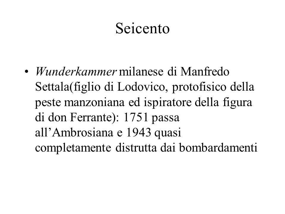 Seicento Wunderkammer milanese di Manfredo Settala(figlio di Lodovico, protofisico della peste manzoniana ed ispiratore della figura di don Ferrante):