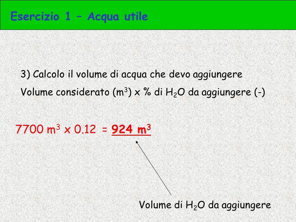 3) Calcolo il peso dello strato di suolo considerato Superficie (ha) x profondità (m) x bulk density (t/m 3 ) 4.3 ha x 0.4 m x 1.3 t/m 3 = = 43000 m 2 x 0.4 m x 1.3 t/m 3 = 22360 t Peso strato di suolo Esercizio 3 – Acqua utile
