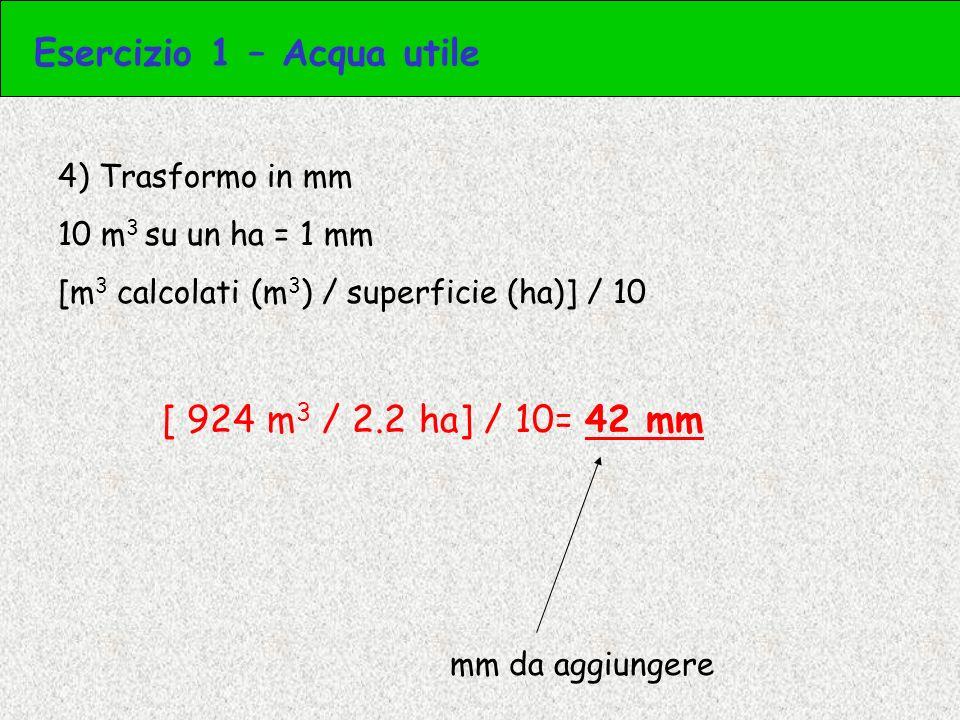 4) Calcolo il peso dellacqua che devo aggiungere alla soglia di intervento Peso strato suolo (t) x metà dellacqua utile (%) 22360 t x 6.5% = 22360 x 0.065 = 1454 t Peso dellacqua che devo aggiungere Esercizio 3 – Acqua utile