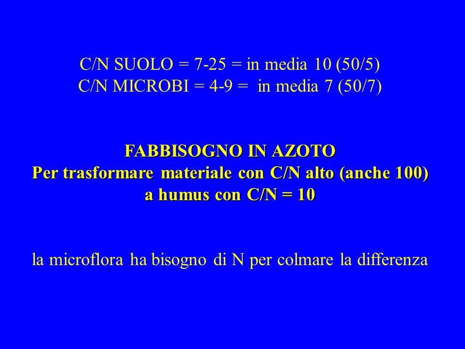 C/N SUOLO = 7-25 = in media 10 (50/5) C/N MICROBI = 4-9 = in media 7 (50/7) FABBISOGNO IN AZOTO Per trasformare materiale con C/N alto (anche 100) a h