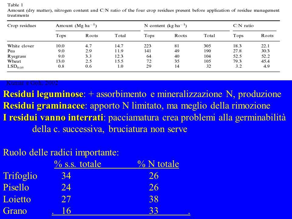 Residui leguminose Residui leguminose: + assorbimento e mineralizzazione N, produzione Residui graminacee Residui graminacee: apporto N limitato, ma m