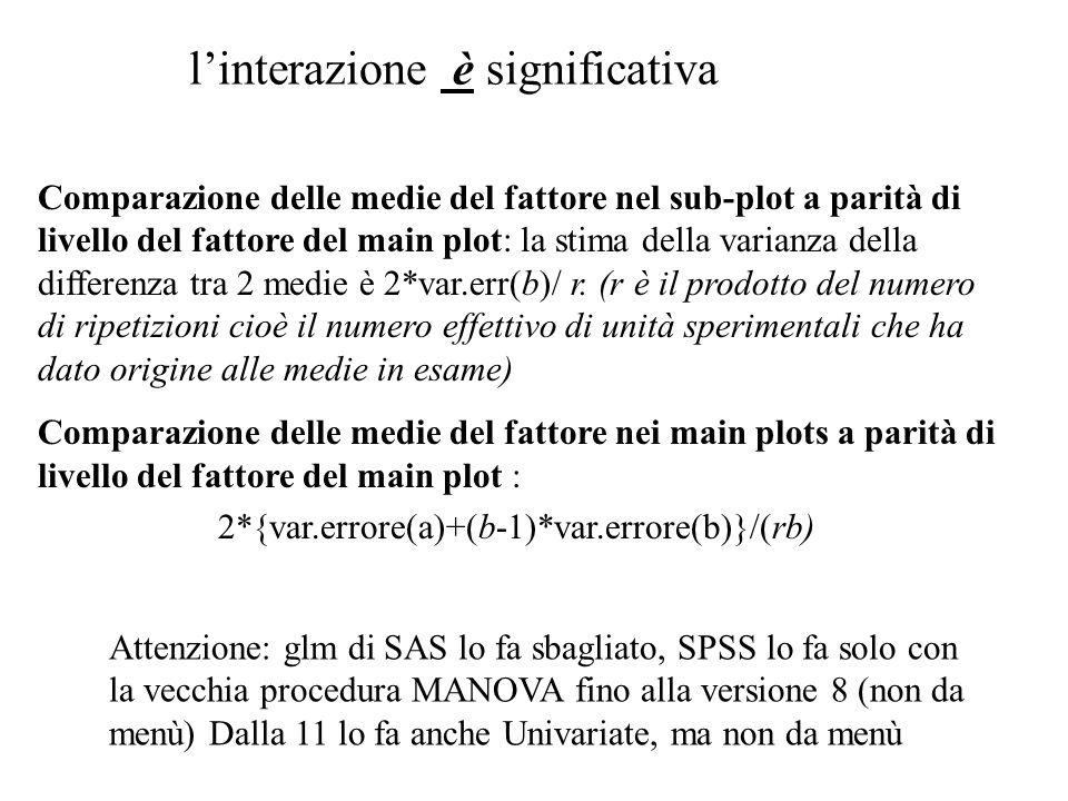 Comparazione delle medie del fattore nel sub-plot a parità di livello del fattore del main plot: la stima della varianza della differenza tra 2 medie