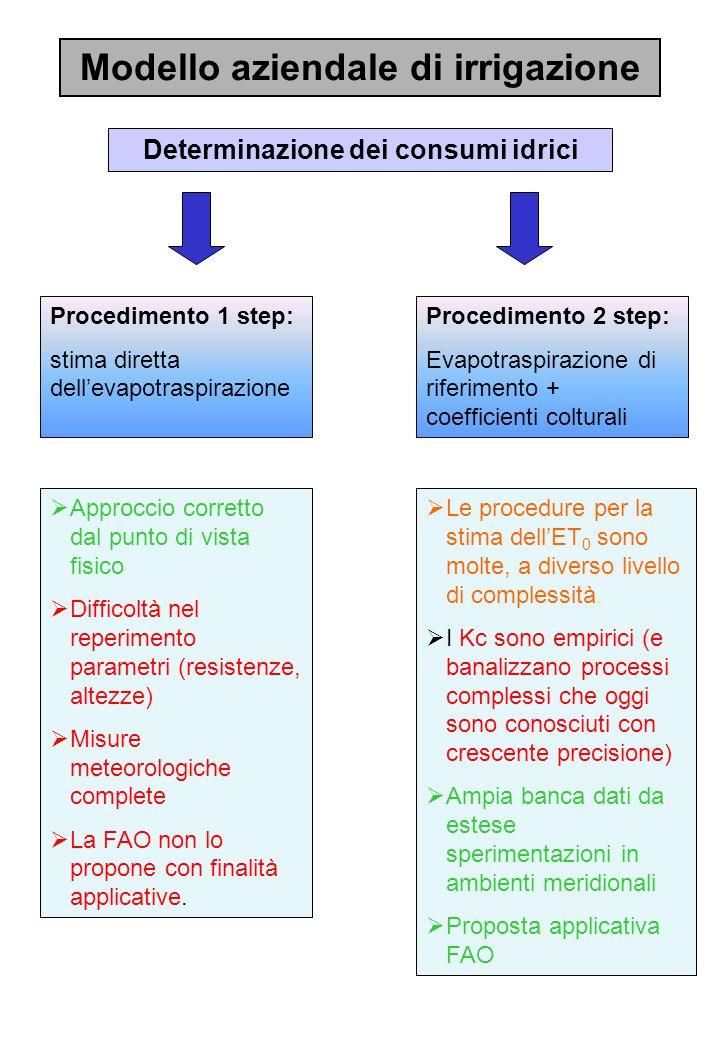Modello aziendale di irrigazione Determinazione dei consumi idrici Procedimento 1 step: stima diretta dellevapotraspirazione Approccio corretto dal pu