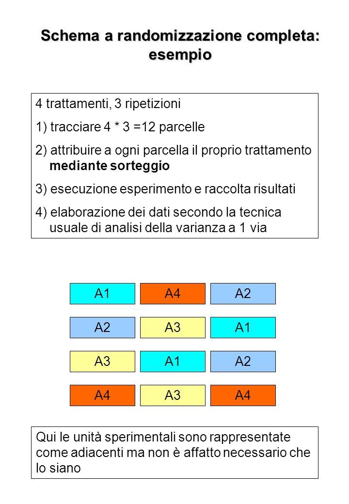 Schema a blocchi randomizzati Consiste: nel suddividere larea sperimentale in blocchi in modo che i blocchi abbiano la massima omogeneità al loro interno e siano il più possibile differenziati tra loro.