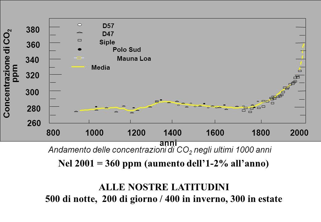 300 320 340 360 380 280 260 8001200100014001600 Concentrazione di CO 2 ppm 18002000 Siple D57 D47 Polo Sud Mauna Loa Media anni Andamento delle concen