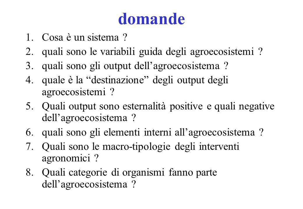 domande 1.Cosa è un sistema .2.quali sono le variabili guida degli agroecosistemi .