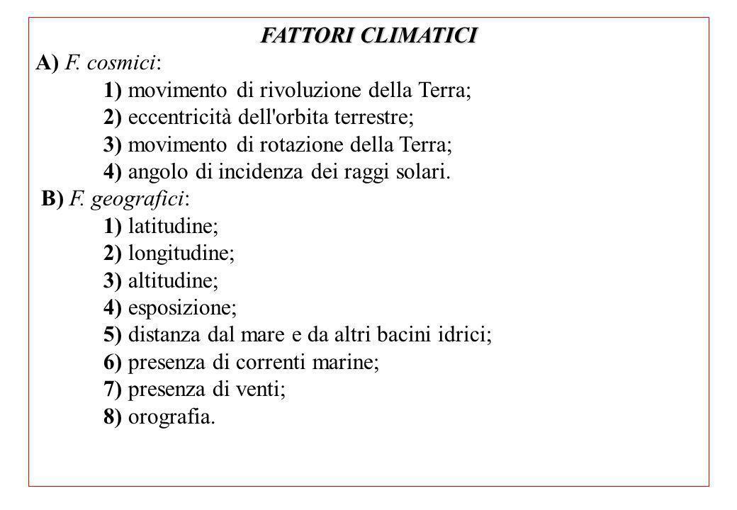 FATTORI CLIMATICI A) F.