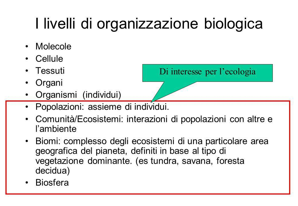I livelli di organizzazione biologica Molecole Cellule Tessuti Organi Organismi (individui) Popolazioni: assieme di individui.