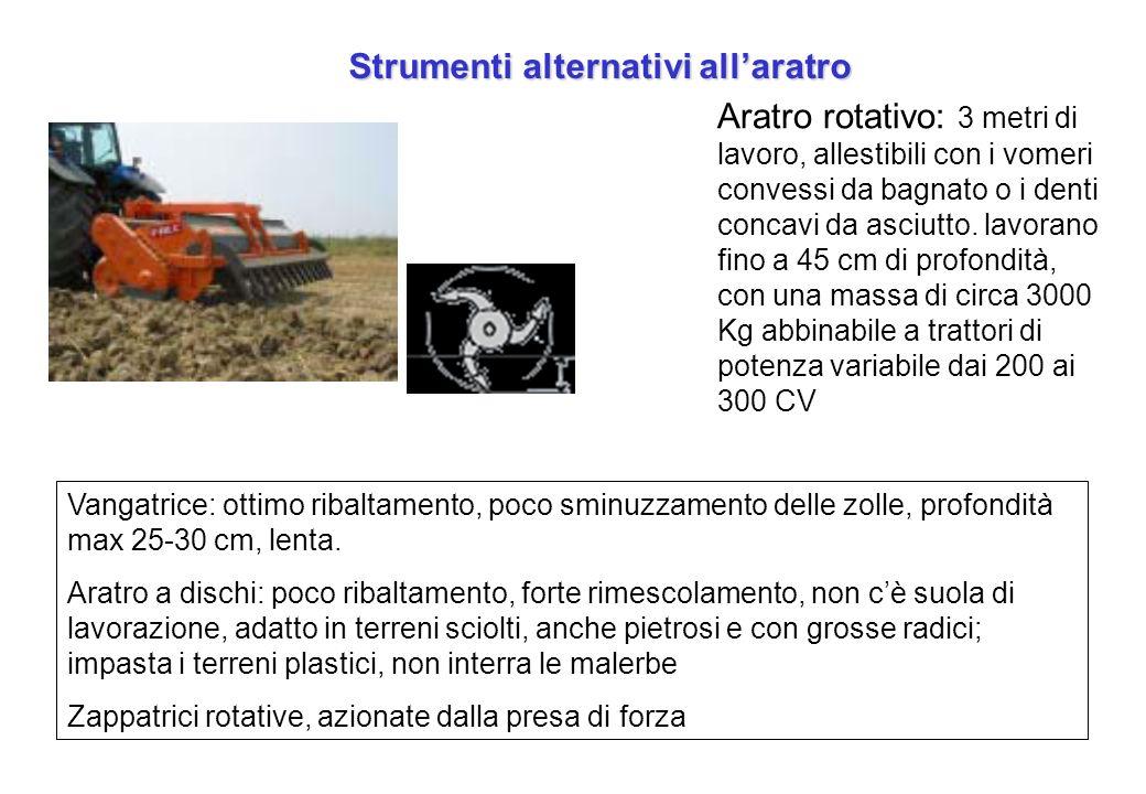 Strumenti alternativi allaratro Vangatrice: ottimo ribaltamento, poco sminuzzamento delle zolle, profondità max 25-30 cm, lenta. Aratro a dischi: poco