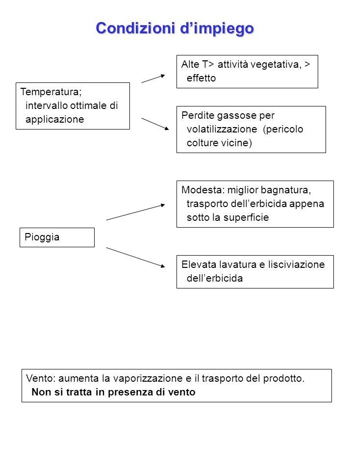 Condizioni dimpiego Temperatura; intervallo ottimale di applicazione Alte T> attività vegetativa, > effetto Perdite gassose per volatilizzazione (peri