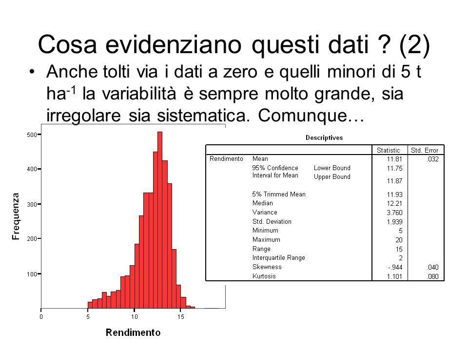 Cosa evidenziano questi dati ? (2) Anche tolti via i dati a zero e quelli minori di 5 t ha -1 la variabilità è sempre molto grande, sia irregolare sia