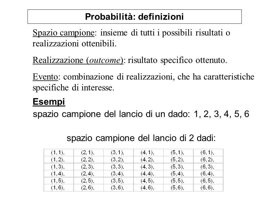 Probabilità: definizioni Spazio campione: insieme di tutti i possibili risultati o realizzazioni ottenibili. Realizzazione (outcome): risultato specif