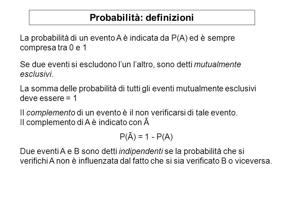 Probabilità: definizioni La probabilità di un evento A è indicata da P(A) ed è sempre compresa tra 0 e 1 Se due eventi si escludono lun laltro, sono d
