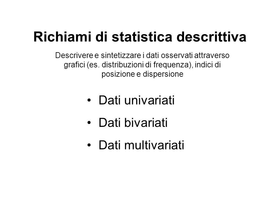 Indici di posizione Indicano la tendenza centrale di un insieme di dati Media aritmetica Proprietà della media aritmetica: la sommatoria degli scarti di ogni dato dalla media (momento di 1° ordine) è nulla.