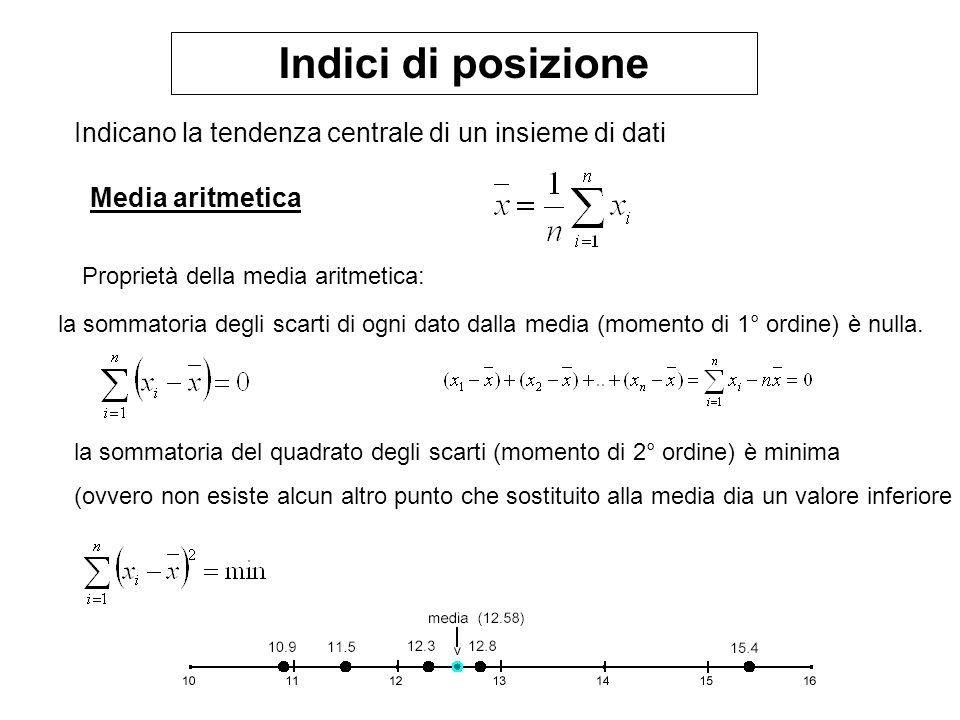 Indici di posizione Indicano la tendenza centrale di un insieme di dati Media aritmetica Proprietà della media aritmetica: la sommatoria degli scarti