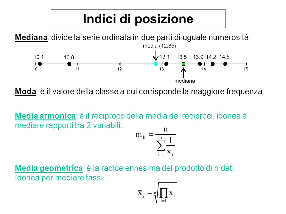 Indici di tendenza centrale resistenti Trimmed mean: media aritmetica nella quale non vengono considerate le code della distribuzione (es.