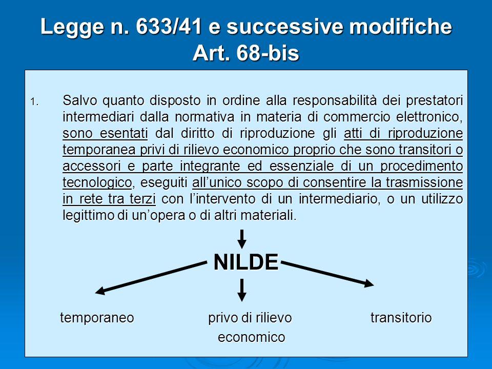 Legge n.633/41 e successive modifiche Art. 68-bis 1.