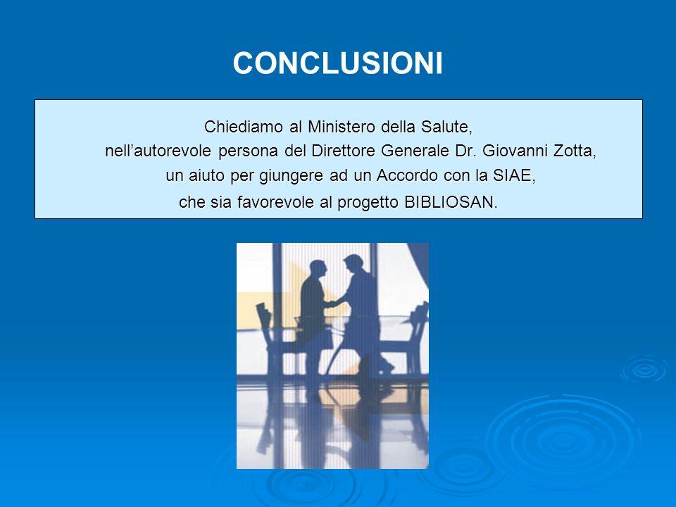 CONCLUSIONI Chiediamo al Ministero della Salute, nellautorevole persona del Direttore Generale Dr.