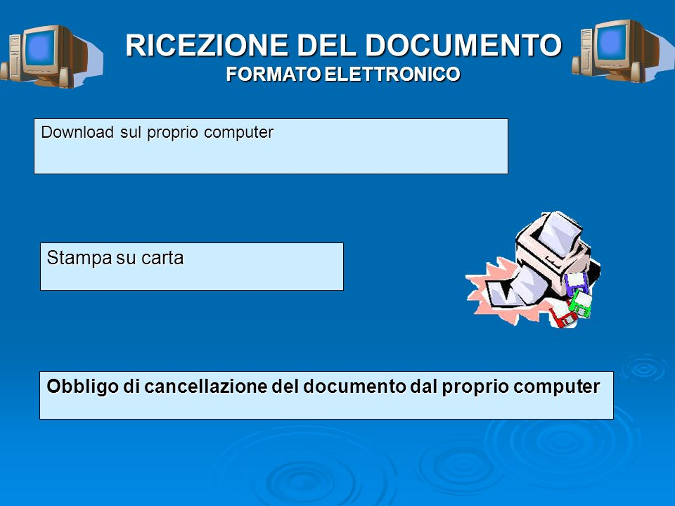 RICEZIONE DEL DOCUMENTO FORMATO ELETTRONICO Download sul proprio computer Stampa su carta Obbligo di cancellazione del documento dal proprio computer