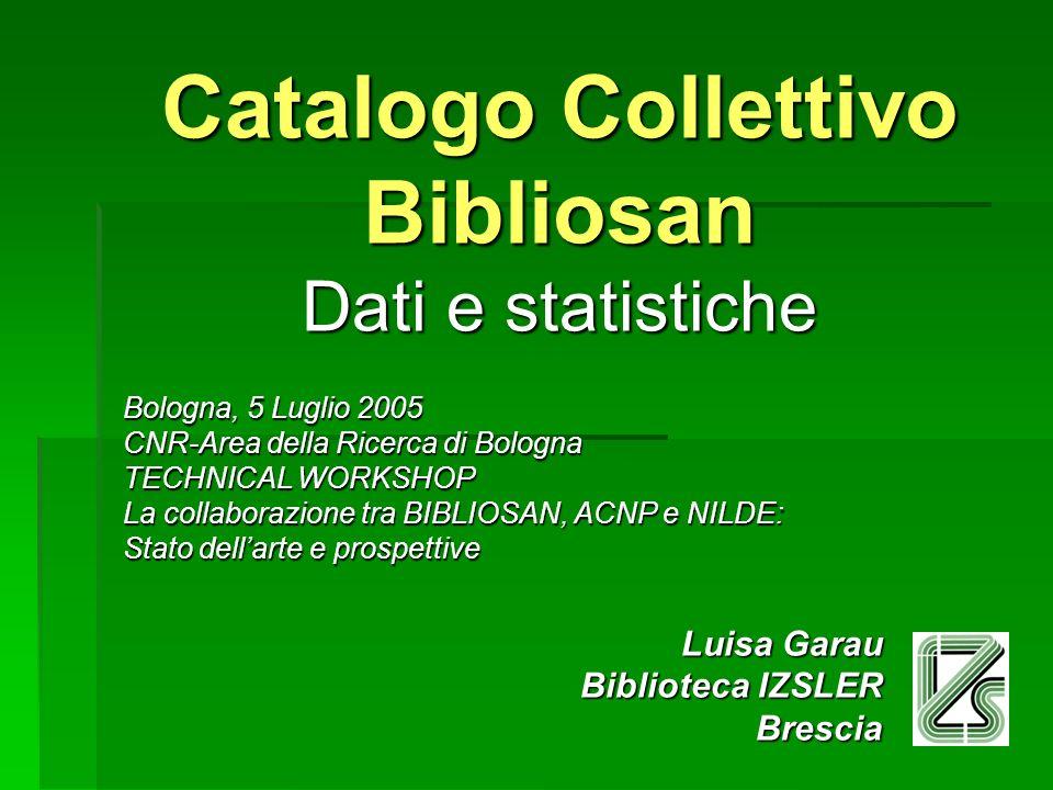 Catalogo Collettivo Bibliosan Dati e statistiche Bologna, 5 Luglio 2005 CNR-Area della Ricerca di Bologna TECHNICAL WORKSHOP La collaborazione tra BIB