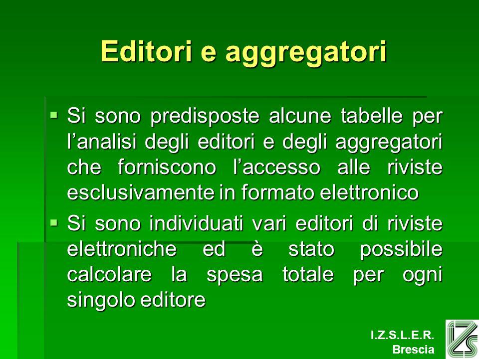 I.Z.S.L.E.R. Brescia Editori e aggregatori Si sono predisposte alcune tabelle per lanalisi degli editori e degli aggregatori che forniscono laccesso a