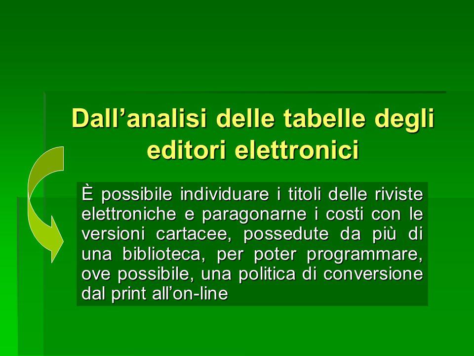 Dallanalisi delle tabelle degli editori elettronici È possibile individuare i titoli delle riviste elettroniche e paragonarne i costi con le versioni