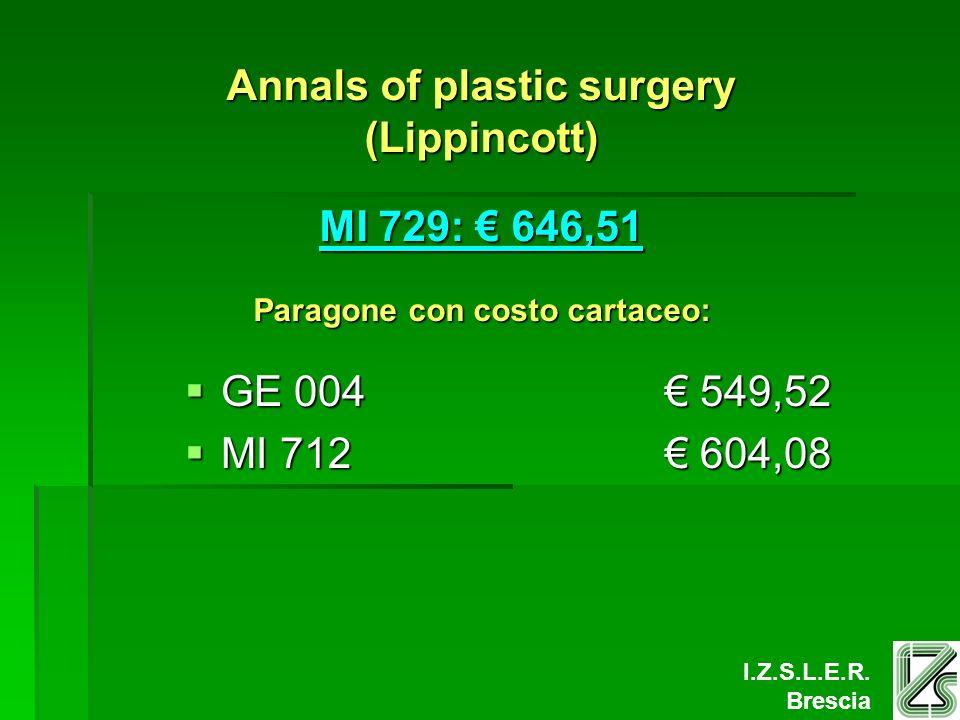 I.Z.S.L.E.R. Brescia Annals of plastic surgery (Lippincott) MI 729: 646,51 Paragone con costo cartaceo: GE 004 549,52 GE 004 549,52 MI 712 604,08 MI 7