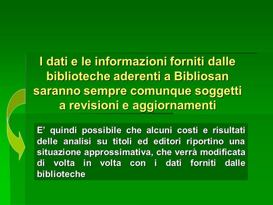 I dati e le informazioni forniti dalle biblioteche aderenti a Bibliosan saranno sempre comunque soggetti a revisioni e aggiornamenti E quindi possibil