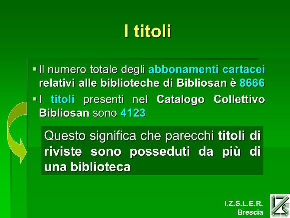 I.Z.S.L.E.R. Brescia I titoli Il numero totale degli abbonamenti cartacei relativi alle biblioteche di Bibliosan è 8666 Il numero totale degli abbonam