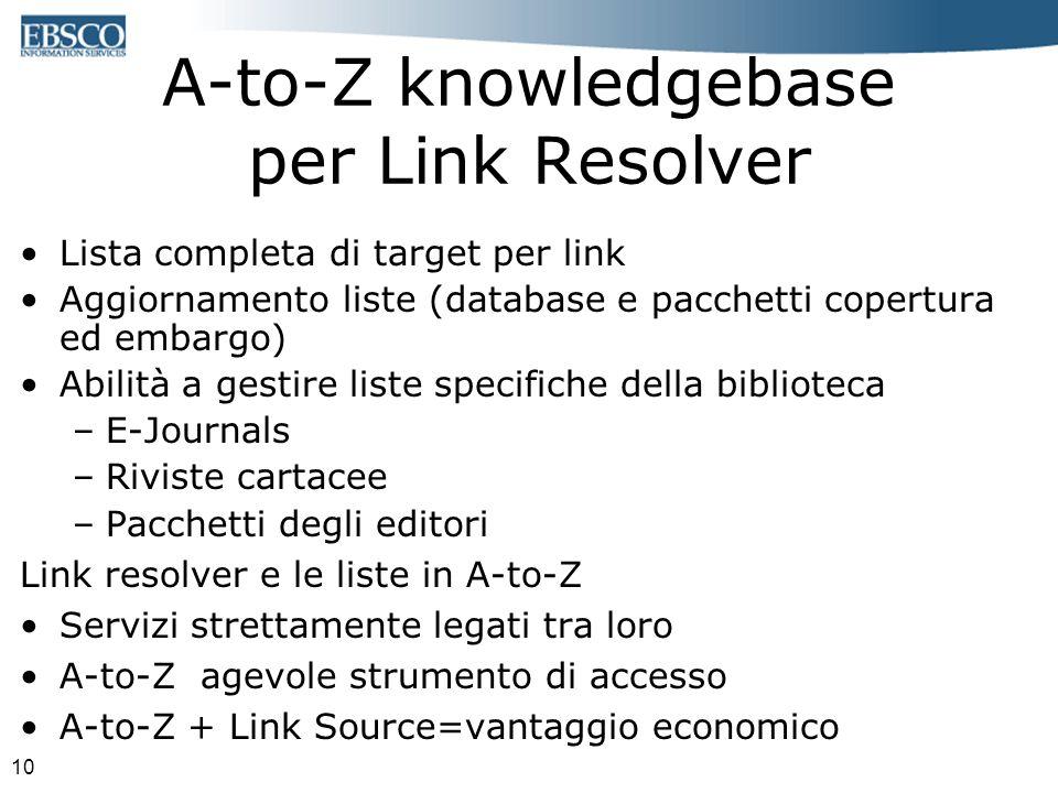 10 A-to-Z knowledgebase per Link Resolver Lista completa di target per link Aggiornamento liste (database e pacchetti copertura ed embargo) Abilità a