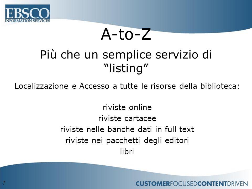 7 A-to-Z Più che un semplice servizio di listing Localizzazione e Accesso a tutte le risorse della biblioteca: riviste online riviste cartacee riviste