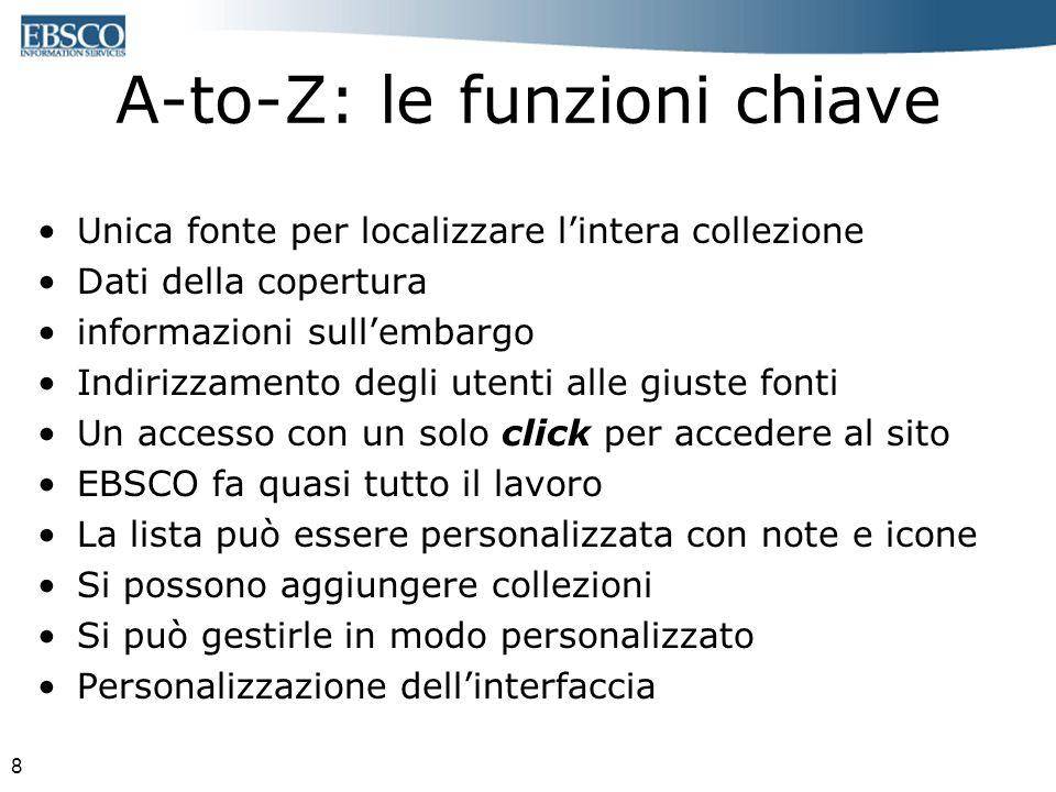8 A-to-Z: le funzioni chiave Unica fonte per localizzare lintera collezione Dati della copertura informazioni sullembargo Indirizzamento degli utenti