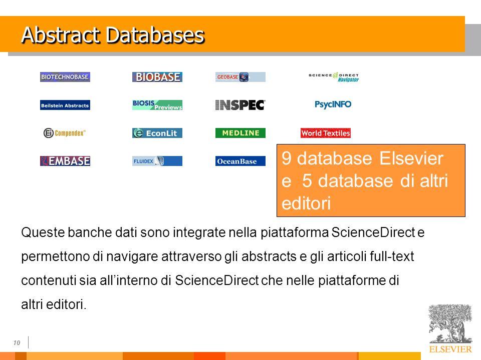 10 Abstract Databases Queste banche dati sono integrate nella piattaforma ScienceDirect e permettono di navigare attraverso gli abstracts e gli articoli full-text contenuti sia allinterno di ScienceDirect che nelle piattaforme di altri editori.