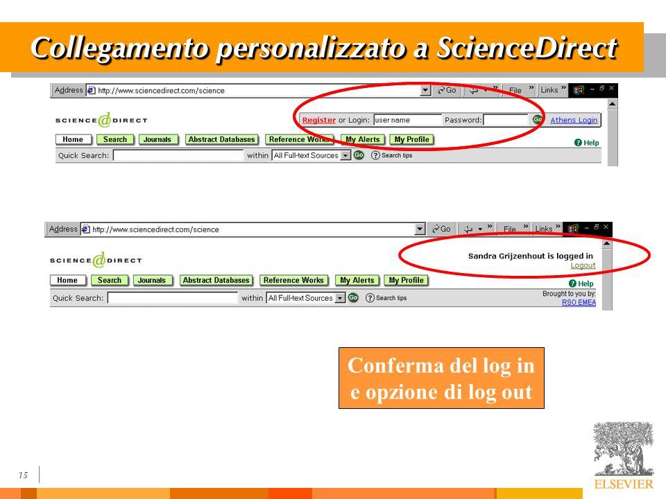 15 Collegamento personalizzato a ScienceDirect Conferma del log in e opzione di log out