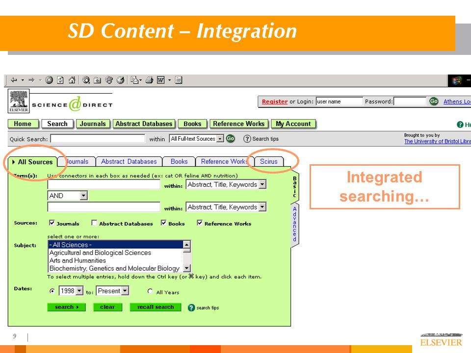 9 SD Content – Integration Integrated searching…