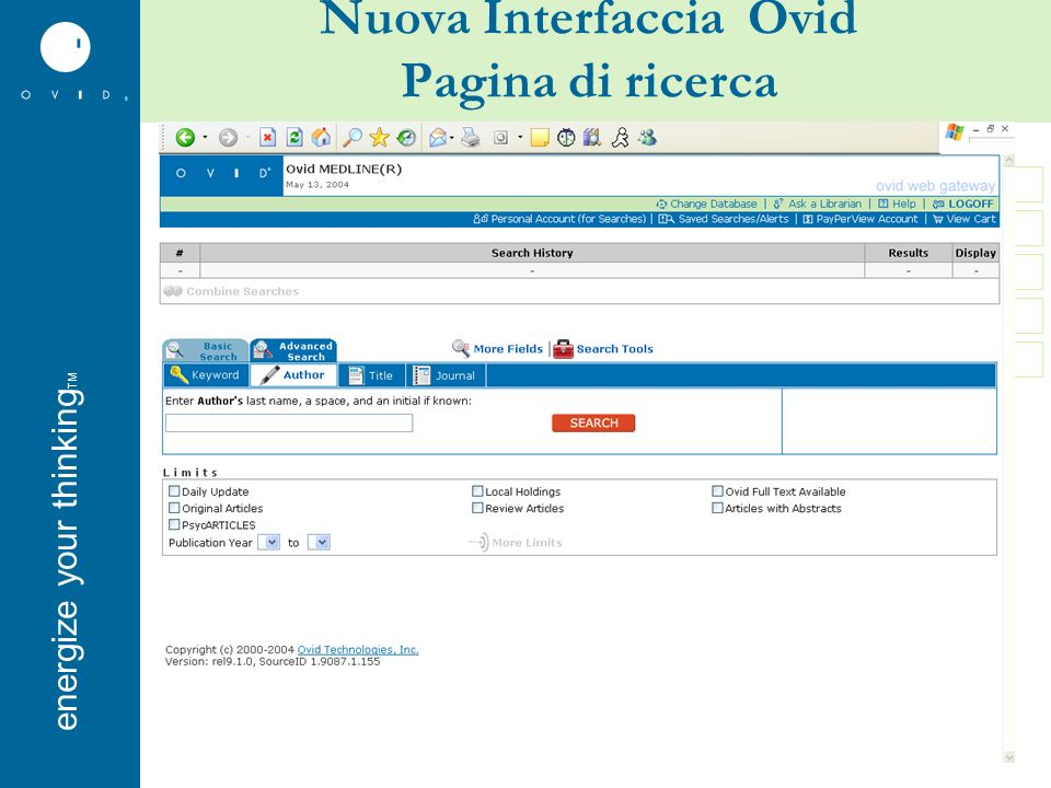 energise your thinkingenergize your thinking TM Nuova Interfaccia Ovid Pagina di ricerca