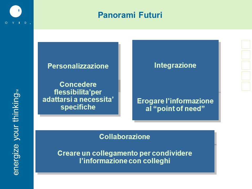 energise your thinkingenergize your thinking TM Personalizzazione Collaborazione Integrazione Concedere flessibilitaper adattarsi a necessita specific