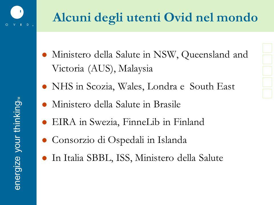 energise your thinkingenergize your thinking TM Alcuni degli utenti Ovid nel mondo Ministero della Salute in NSW, Queensland and Victoria (AUS), Malay