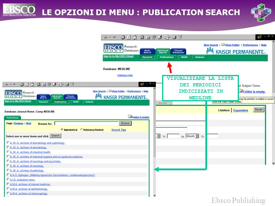 Ebsco Publishing VISUALIZZARE LA LISTA DEI PERIODICI INDICIZZATI IN MEDLINE LE OPZIONI DI MENU : PUBLICATION SEARCH