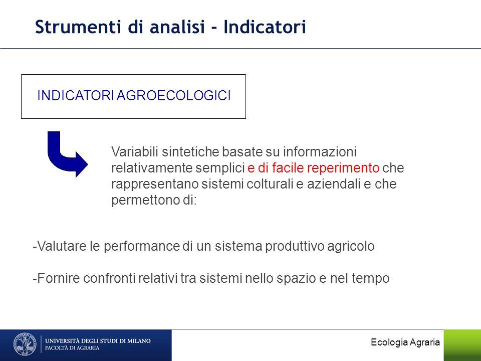 Ecologia Agraria Strumenti di analisi - Indicatori INDICATORI AGROECOLOGICI Variabili sintetiche basate su informazioni relativamente semplici e di fa