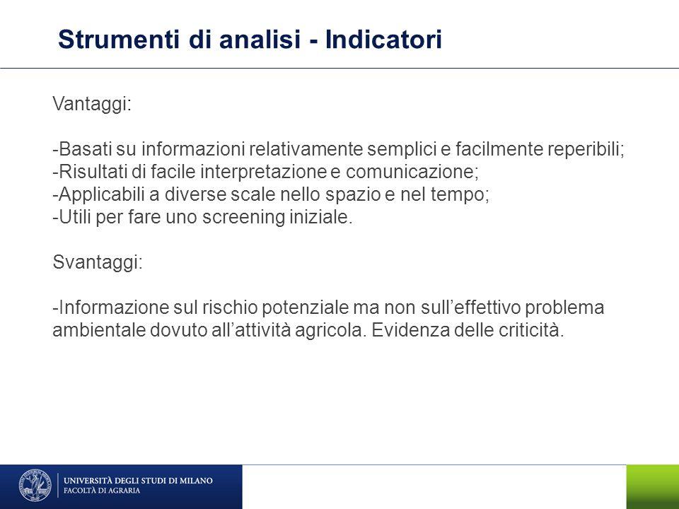 Strumenti di analisi - Indicatori Vantaggi: -Basati su informazioni relativamente semplici e facilmente reperibili; -Risultati di facile interpretazio