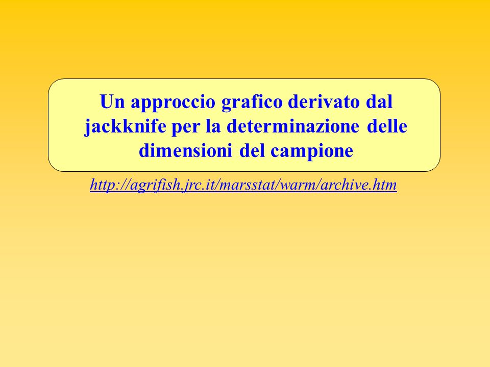 Un approccio grafico derivato dal jackknife per la determinazione delle dimensioni del campione http://agrifish.jrc.it/marsstat/warm/archive.htm